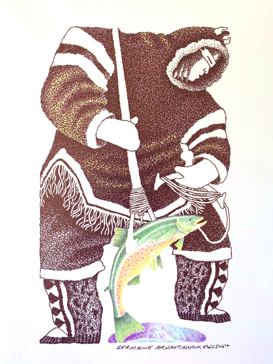 This Inuit art print features a fisherman wearing warm winter clothing and a traditional Inuit sun visor. He holds a fishing ling in his left and a fishing spear in his right. He is hauling up a green trout with a speckled orange belly from an ice fishing hole using the spear.