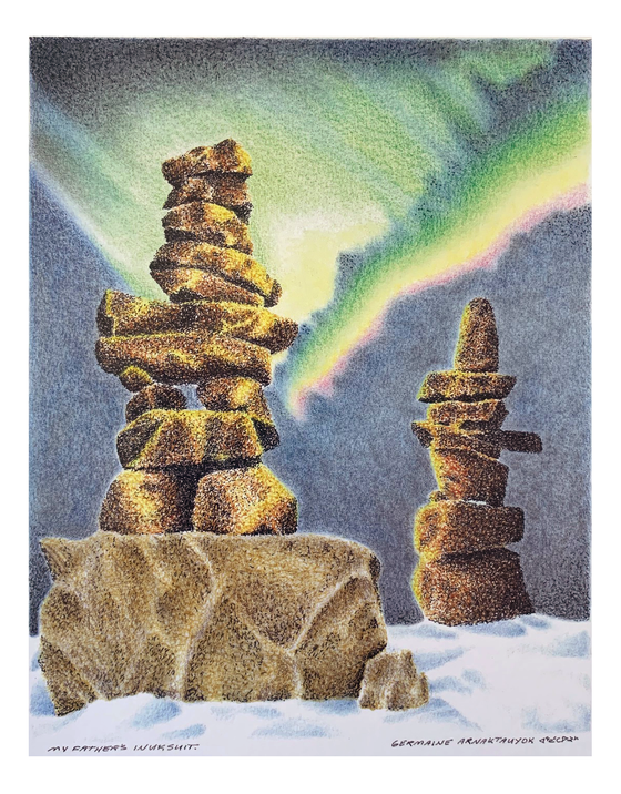 Two sturdy Inuksuhuk standing in the snow and northern light in the background.