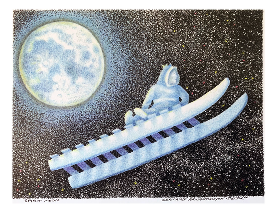 This print features a spirit sleighing through a star-filled sky with a bright full moon in a winter night. Streams of tiny white dots in the sky give the impression of powdery snow or even the milky way.