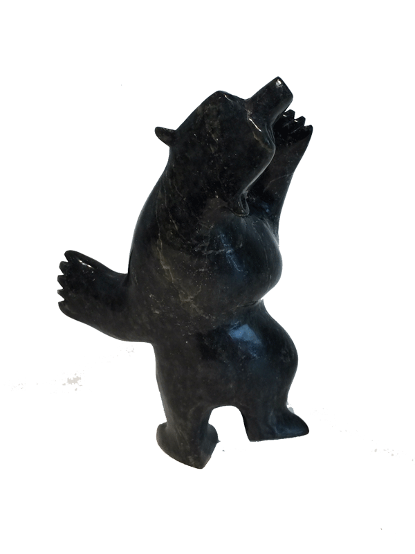 A soapstone carving of a dancing bear by Moe Pootoogook. The bear is standing on it's hind legs, which gives the illusion that the bear is indeed dancing. This piece is made from a dark black stone with yellow marbled patterning throughout. In this photograph, a back view of the bear is shown.