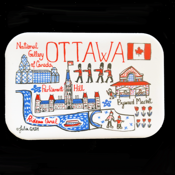 This magnet is rectangular with rounded edges and features an array of cartoonishly drawn Ottawa landmarks. The landmarks are coloured in red, blue and black on a white background. The landmarks include the National Gallery, Parliament Hill, the Rideau Canal, and the Byward market. The simple designs on this magnet give it a bright, fun feeling.