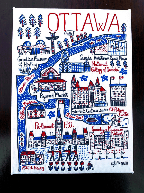 A picture of the front of the Ottawa cityscape canvas. It is covered in an array of cartoonishly drawn Ottawa landmarks in red, blue and black on a white background. Notable landmarks include Parliament Hill, the Byward market, the Museum of Nature, the Museum of history, the national gallery of art, and the Ottawa River. The simple line art and colour palate give this canvas a bright, fun feeling.