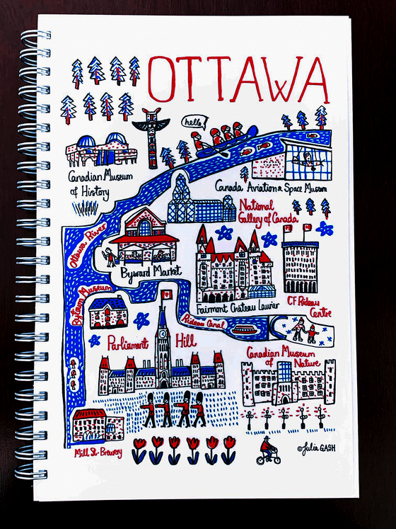 A picture of the front of the Ottawa cityscape journal. It is covered in an array of cartoonishly drawn Ottawa landmarks in red, blue and black on a white background. Notable landmarks include Parliament Hill, the Byward market, the Museum of Nature, the Museum of history, the national gallery of art, and the Ottawa River. The simple line art and colour palate give this journal a bright, fun feeling.