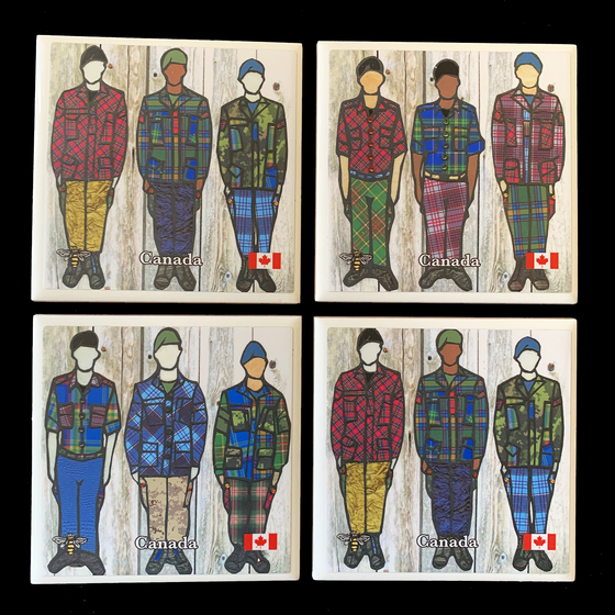 This set of four ceramic coasters features six soldiers in colourful tartan clothing, with three soldiers per coaster. The pattern is repeated across two coasters. The soldiers all wear long pants and jackets. Each jacket and set of pants has a unique tartan pattern on it, so each outfit is unique. At the bottom of the picture from left to right is a small bee, the word Canada in white text, and a Canadian flag.