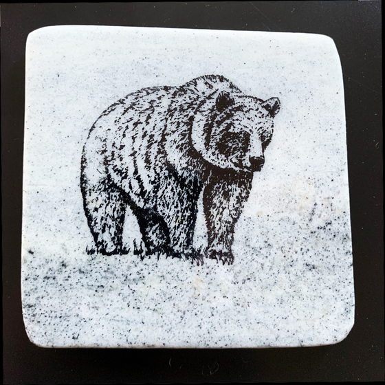 This coaster features the image of a bear as it stands in grass. The image is on a piece of canadian shield marble with mineral lines running through in unique colours, lines, and patterns. The coaster is finished with a clear coat, giving it a shiny finish.