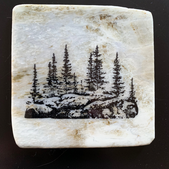 This coaster features the image of a large group of trees on a rocky ledge. The image is on a piece of canadian shield marble with mineral lines running through in unique colours, lines, and patterns. The coaster is finished with a clear coat, giving it a shiny finish.