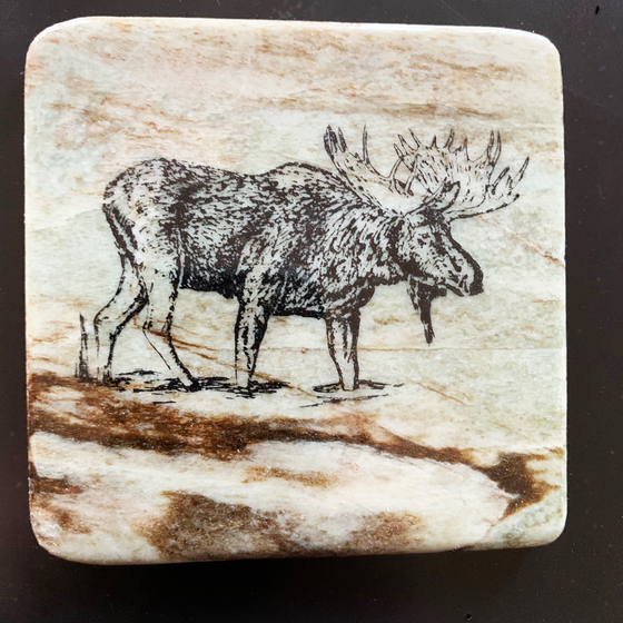 This coaster features the image of the side view of a moose as it walks into a pond. The image is on a piece of canadian shield marble with mineral lines running through in unique colours, lines, and patterns. The coaster is finished with a clear coat, giving it a shiny finish.