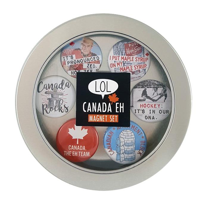 "A top down view of the Canadian Humour magnet set. It comes in a round tin with a clear top for viewing the magnets. This set contains our zee not zed and Canada rocks designs plus four unique designs: a vintage picture of a maple syrup tin reading ""I put maple syrup on my maple syrup""; a vintage picture of a hockey game reading ""Hockey, it's in our DNA""; a red and white magnet reading ""Canada, the EH team""; and a blue magnet with three stacked igloos reading ""Canadian apartment block""."