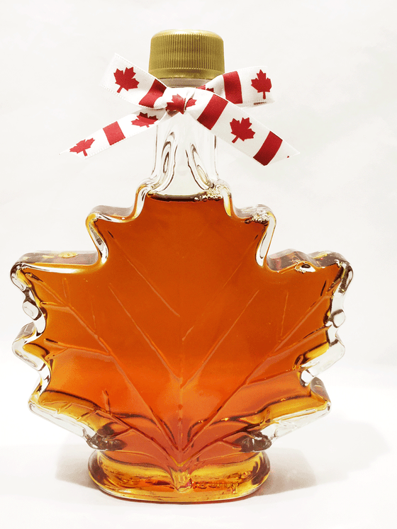 This product features 100% pure Canadian Maple Syrup beautifully packaged in decorative glass maple leaf containers. This maple syrup is amber in colour creating a wonderfully rich maple flavour. This product is available in 100 mL and 250 mL.