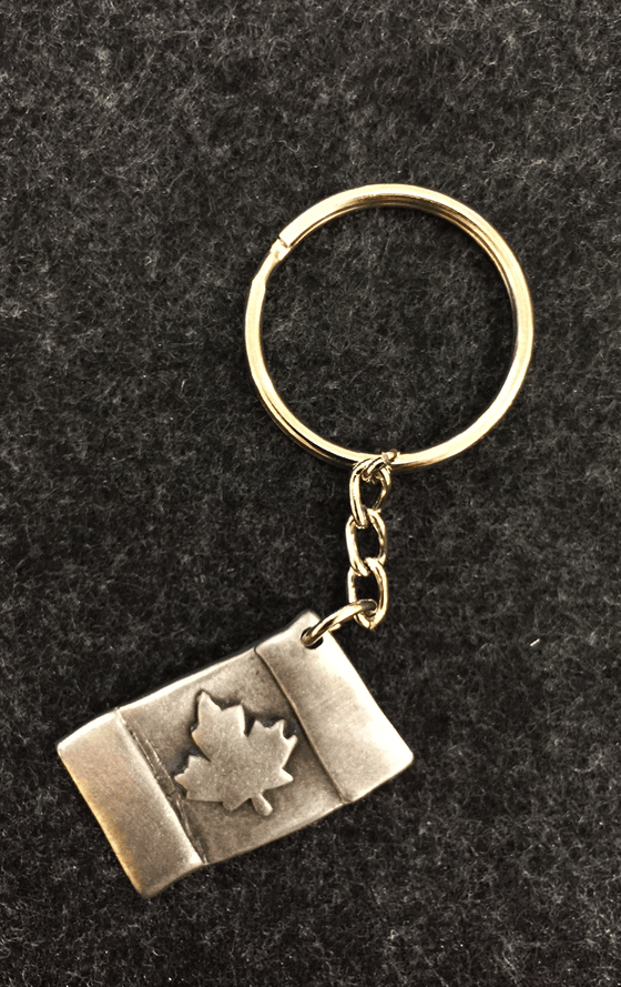 Pewter Canadian flag attached to a small chain and a key ring