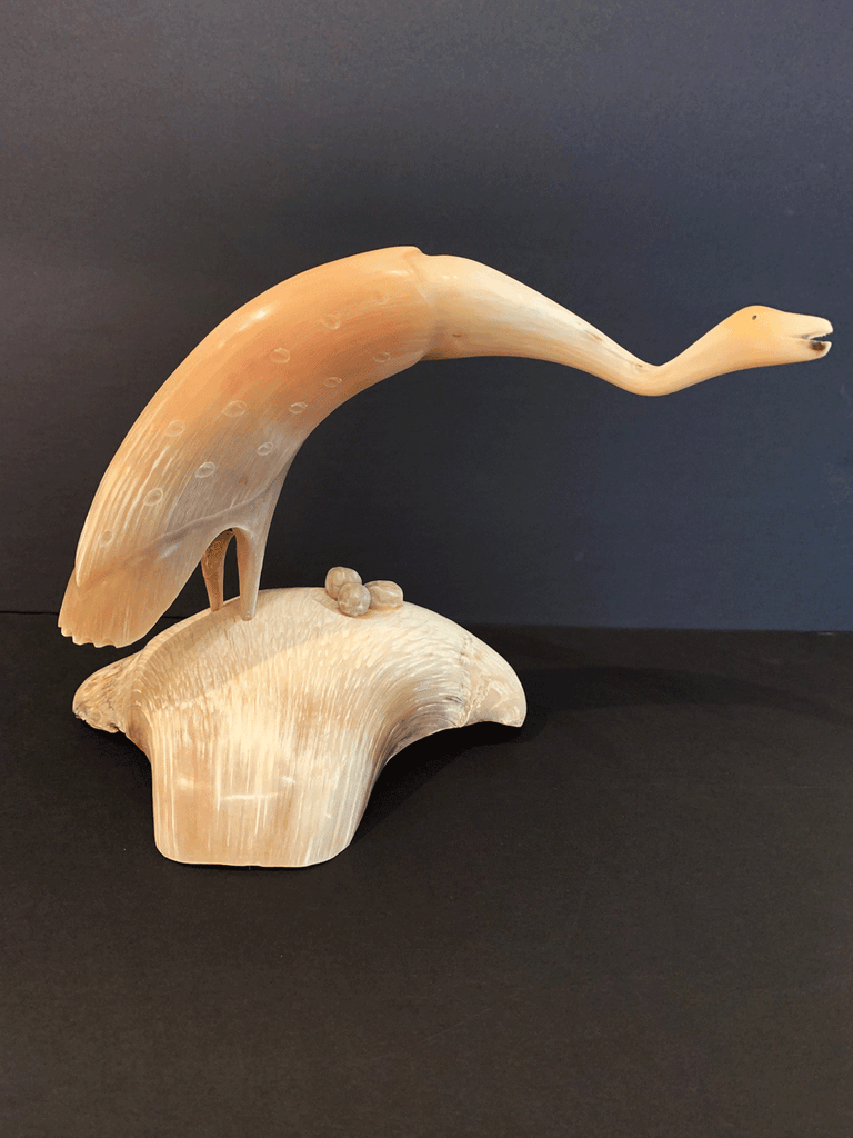 Musk Ox Horn Carving - Sandhill Crane with Eggs on Musk Ox Boss Base