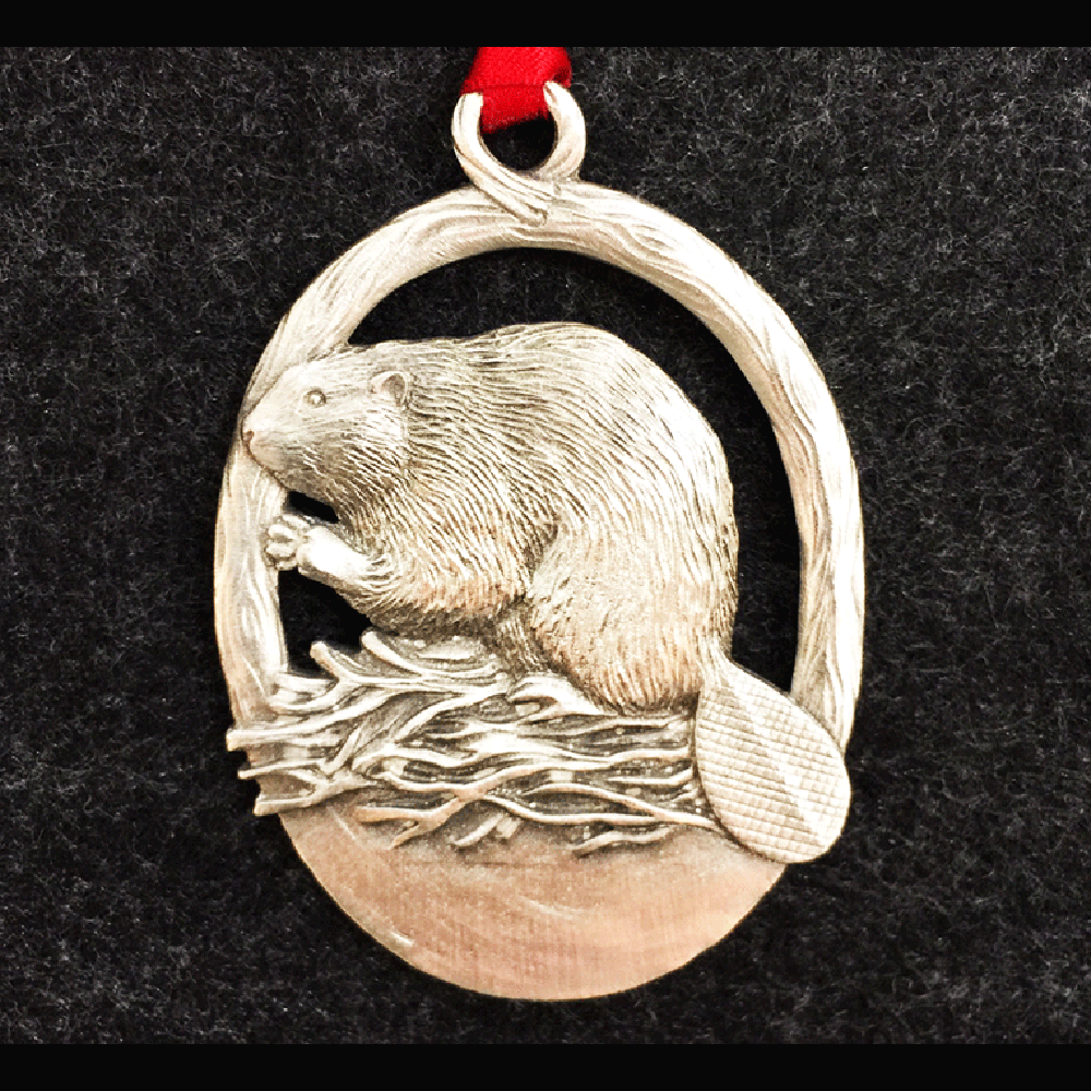 Beaver Pewter Ornament