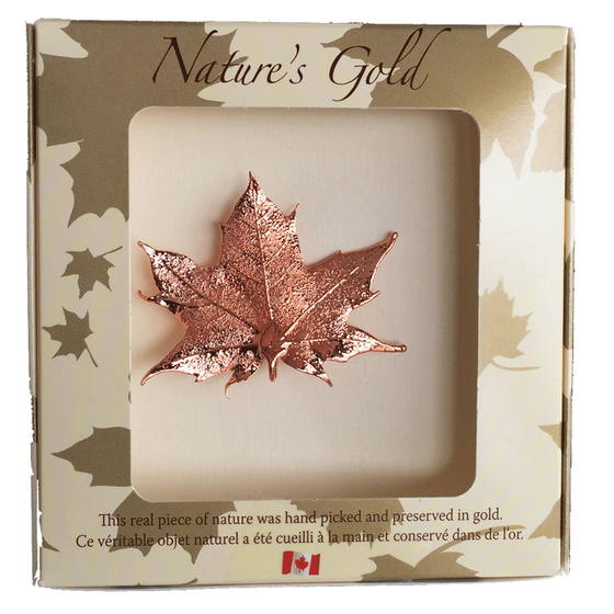 "A small copper coated maple leaf sits in a paper box. The top face of the box has a wide square viewing hole. The box is tan with gold maple leaf prints. At the top of the box is written Nature's Gold. At the bottom is written ""this real piece of nature was handpicked and preserved in gold"" followed by ""Ce véritable objet naturel a été cueilli à la main et conservé dans de l'or"""