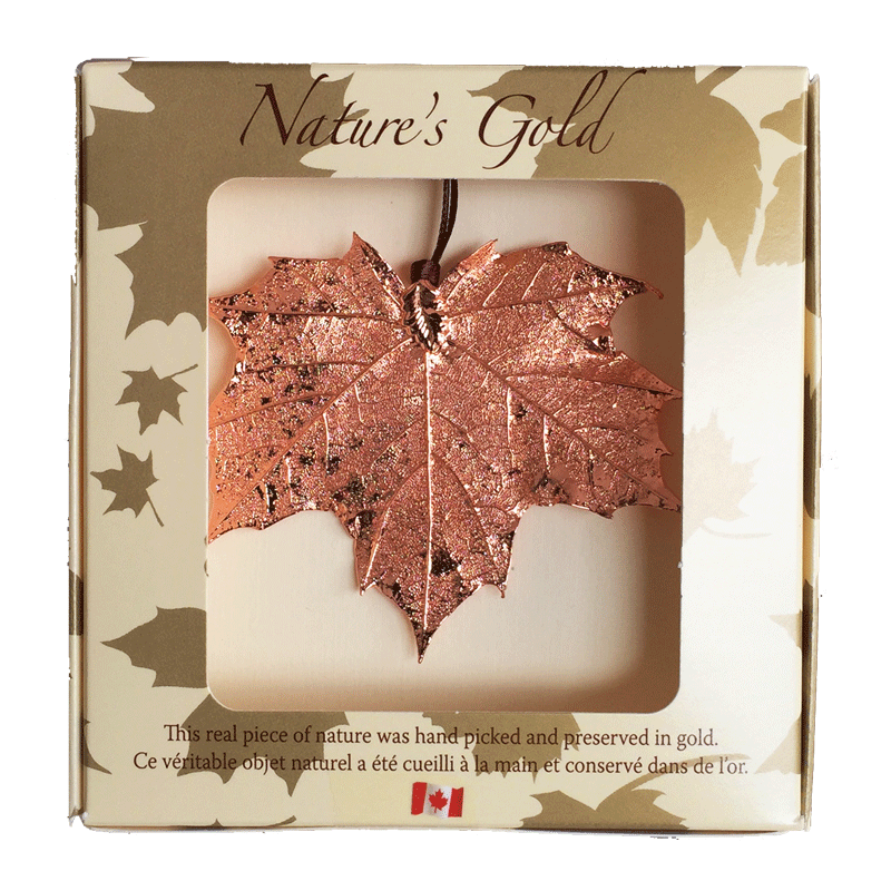 "A large copper coated maple leaf sits in a paper box. The top face of the box has a wide square viewing hole. The box is tan with gold maple leaf prints. At the top of the box is written Nature's Gold. At the bottom is written ""this real piece of nature was handpicked and preserved in gold"" followed by ""Ce véritable objet naturel a été cueilli à la main et conservé dans de l'or"""