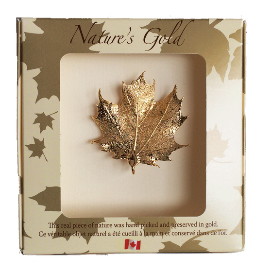 "A small gold coated maple leaf sits in a paper box. The top face of the box has a wide square viewing hole. The box is tan with gold maple leaf prints. At the top of the box is written Nature's Gold. At the bottom is written ""this real piece of nature was handpicked and preserved in gold"" followed by ""Ce véritable objet naturel a été cueilli à la main et conservé dans de l'or"""