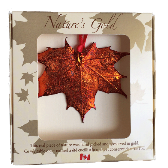 "A large metal coated maple leaf sits in a paper box. The metal has an iridescent finish, and sparkles in several shades of orange and red. The top face of the box has a wide square viewing hole. The box is tan with gold maple leaf prints. At the top of the box is written Nature's Gold. At the bottom is written ""this real piece of nature was handpicked and preserved in gold"" followed by ""Ce véritable objet naturel a été cueilli à la main et conservé dans de l'or"""
