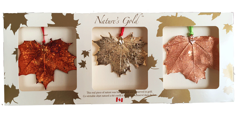 Maple Leaf Ornaments - Trio Pack - Ornaments - Made In Canada Gifts