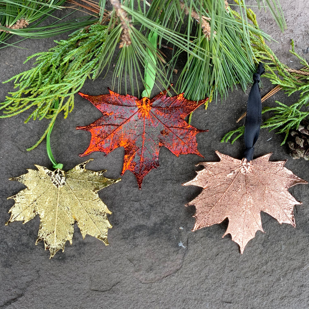 Three large metal coated maple leaves sit on a stone background. One is coated in gold, one in copper, and one in an iridescent orange and red metal. Each leaf has a ribbon attached to its stem end. Around the picture are decorative evergreen leaves.