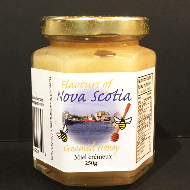 Nova Scotia honey is creamed to create a creamy and delicious spread. This honey comes in a 250 gram glass jar.