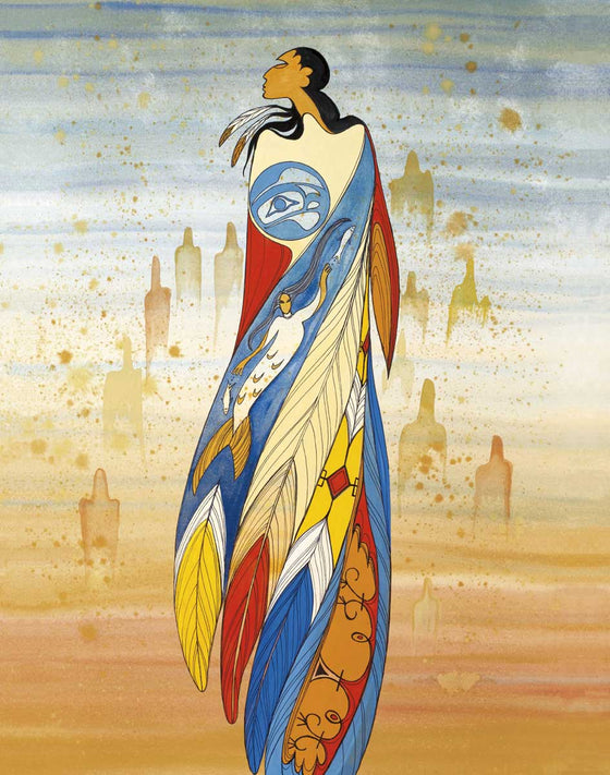 A woman with feathers in her long black hair. She is wearing a dress which resembles large feathers. The feathers are blue, yellow, red and white. There is a first nation's moon on the woman's chest, and the Inuit goddess Sedna swims in part of the dress. The woman is surrounded by faint humanoid figures in the background. This Canadian Indigenous print was painted by Maxine Noel, a Sioux artist born on the Birdtail Reserve, Manitoba.