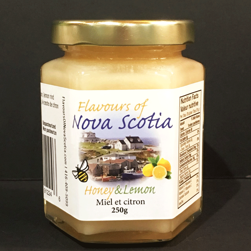 Nova Scotia honey is creamed and combined with lemons to create a delicious and refreshing taste. This honey comes in a 250 gram glass jar.