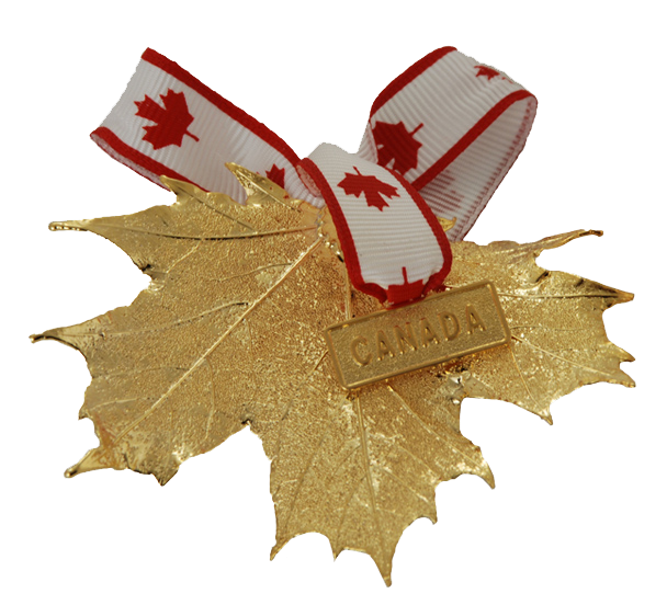 "A large gold coated maple leaf on a white background. A ribbon patterned with maple leaves is attached to the stem end of the leaf. On the ribbon is a small gold charm which says ""Canada"". The gold has a bright finish."