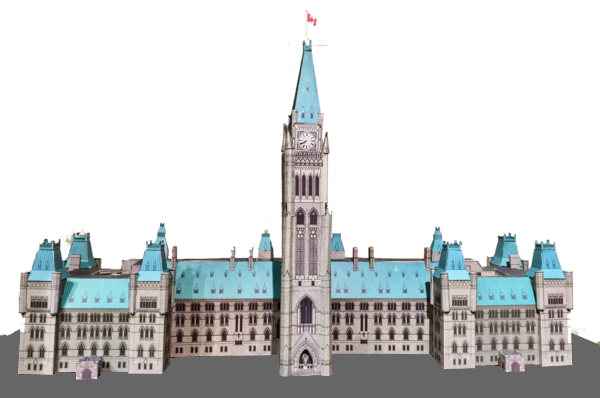 A completed DIY paper model of Canadian Parliament, featuring the front part of the Center block and the Peace Tower. The model is very detailed, and even small spires are rendered three dimensional.  The Peace Tower is flying a tiny Canadian flag. The small windows and crenellations of the building are printed onto the paper, adding another layer of detail.