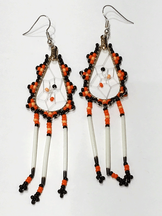 First Nations Porcupine Quill Earrings - Orange