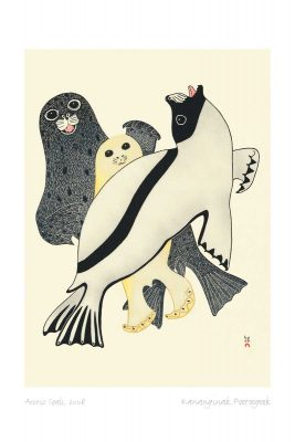 Three seals on an off white background. The front-most seal is white with a black head and a black stripe on its side. Its head is thrown back with its mouth open. The middle seal is cream coloured with shiny black eyes. The rear seal is grey with black spots. It appears to be smiling. This Canadian Indigenous print was painted by Kananginak Pootoogook, an Inuit artist born in the Ikerrasak camp in Nunavut. His signature is at the bottom right.