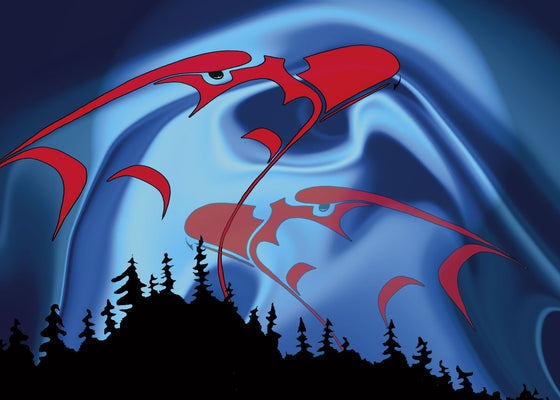 Two red eagle heads float in the night sky. The eagles are drawn in First Nations style. The sky has swirls of dark and light blue.  A pine forest is silhouetted at the bottom.  This Canadian Indigenous print was created by First Nations artist Rick Beaver. He was born on the Alderville Indian Reserve on Rice Lake, Southern Ontario.