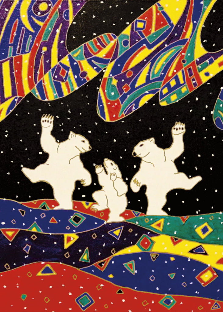 Two large polar bears and one bear cub dance together on their hind legs. The land is made of waves of dark blue, red, green and yellow, with triangles and squares painted over it. The sky is black. An aurora filled with colourful abstract shapes hangs above the bears. The painting is full of white spots, suggesting snow. This Canadian Indigenous print was painted by Dawn Oman, a Dene artist from Yellowknife, North West Territories.