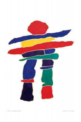 A colourful Inukshuk on a white background. The Inukshuk's body is made of red, yellow, green and blue stones. This Canadian Indigenous print was painted by Dawn Oman, a Dene artist from Yellowknife, North West Territories.