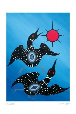 Two loons swimming on a blue background. The loons are black with small white spots. Each loon has a blue symbol on its back. At the upper right of the picture is a red sun with eight black rays. This Canadian Indigenous print was made by Oji-Cree artist Kurt Flett. He was born into the Garden Hill First Nation in northern Manitoba.