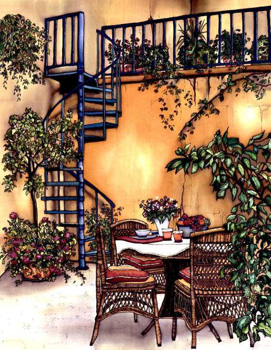 A blue spiral staircase winds up to a balcony against a yellow stucco wall. In front of the staircase is a small table with a bowl of fruit, surrounded by three cushioned wicker chairs. Numerous potted plants, some with pink and purple flowers, are stationed around the table and the balcony. This print recreates the rich watercolours of the original painting.