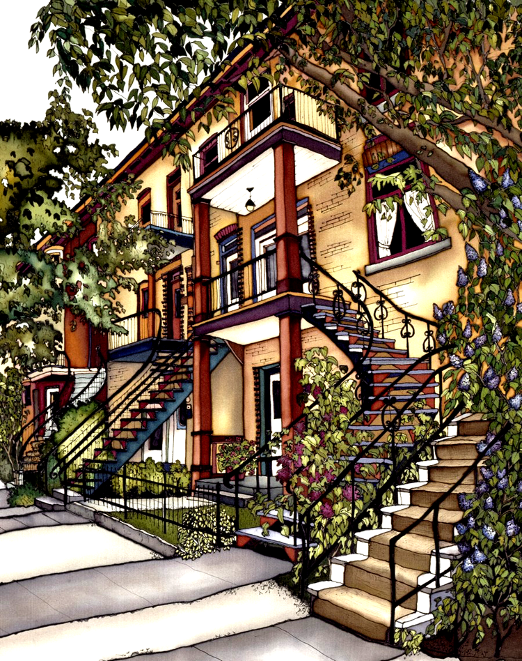 Four yellow-brick townhouses, each with a colourful staircase leading up to a second floor balcony. The staircases all have wrought iron railings. Several small trees and bushes grow in front of the houses. This print recreates the rich watercolours of the original painting.