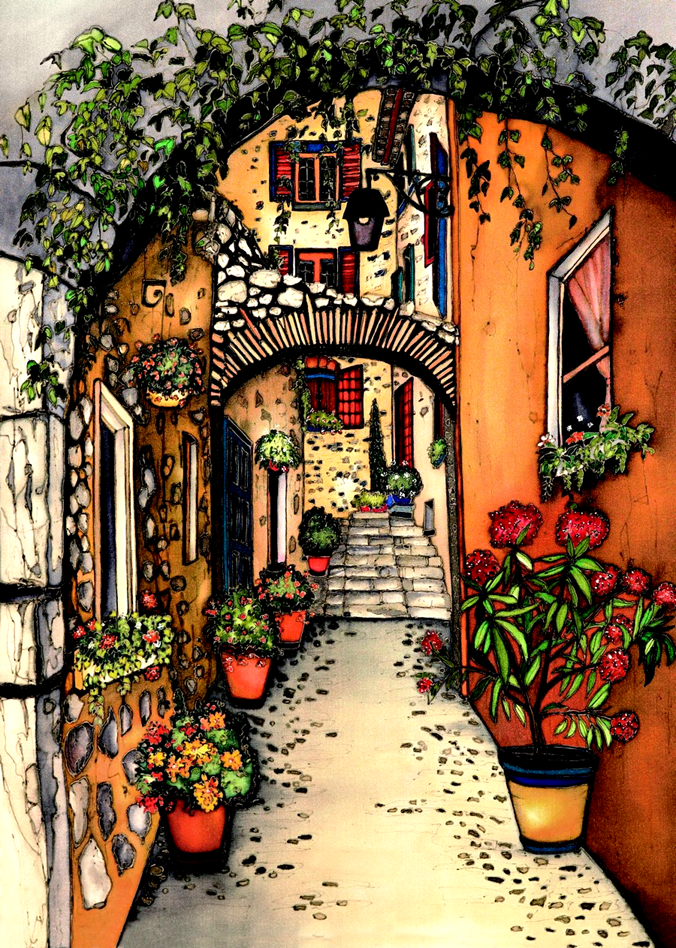 This print shows a narrow alleyway between yellow and orange stucco buildings. Rustic stone archways and vines hang overhead. The alley is lined with several flowering potted plants. This print recreates the rich watercolours of the original painting.