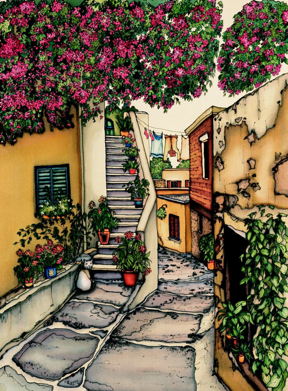 An alley with a slightly derelict stone road split down the middle. The left half of the road becomes a stone staircase that winds up and around a yellow building. The right half continues downhill, turning left and disappearing behind the staircase. Huge trees or bushes with intense pink flowers loom overhead. This print recreates the rich watercolours of the original painting.