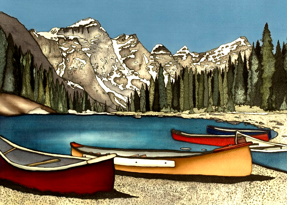 This print shows three red and yellow canoes docked on a pebble beach by Alberta's Lake Moraine. Beyond the lake is a forest of slender evergreen trees, and beyond that are the imposing, snow covered Canadian Rockies. This print recreates the rich watercolours of the original painting.