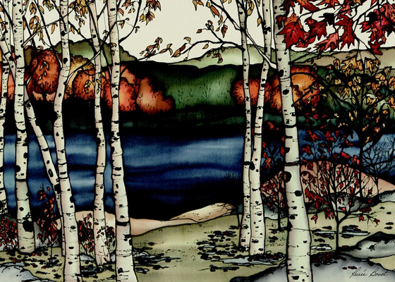 This rectangular magnet shows birch trees next to a lake in autumn. A break in the trees suggests a path leading to the deep blue lake. The many of the trees' leaves have fallen, but those that remain are vibrant red and gold. The picture is richly coloured.