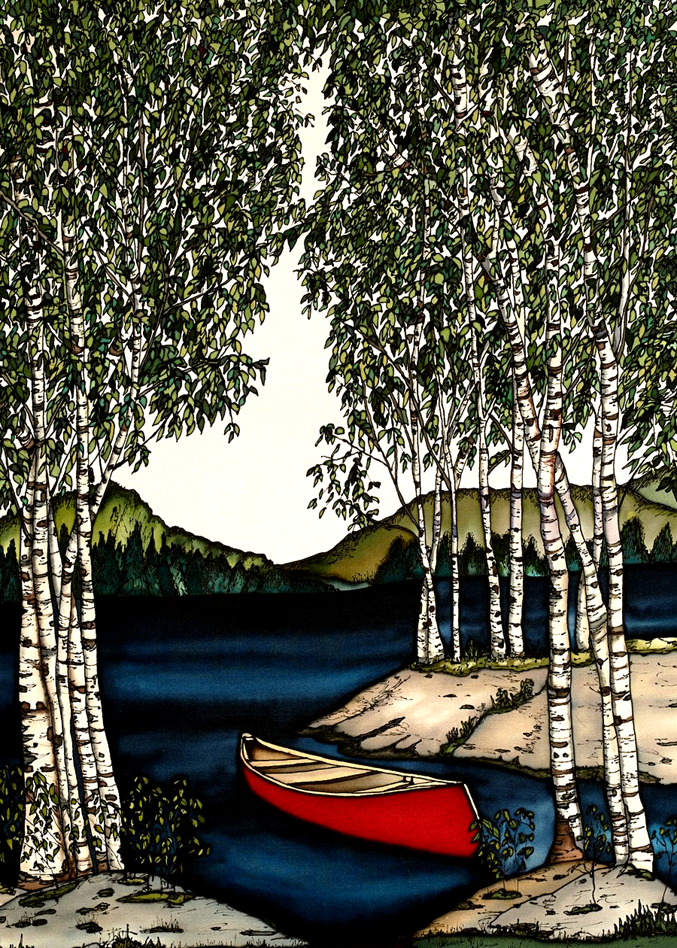 This print shows an empty red canoe on a river surrounded by birch trees. The trees are highly detailed with every leaf individually drawn. An evergreen forest and green hills are in the background beyond the river. The picture is richly coloured.
