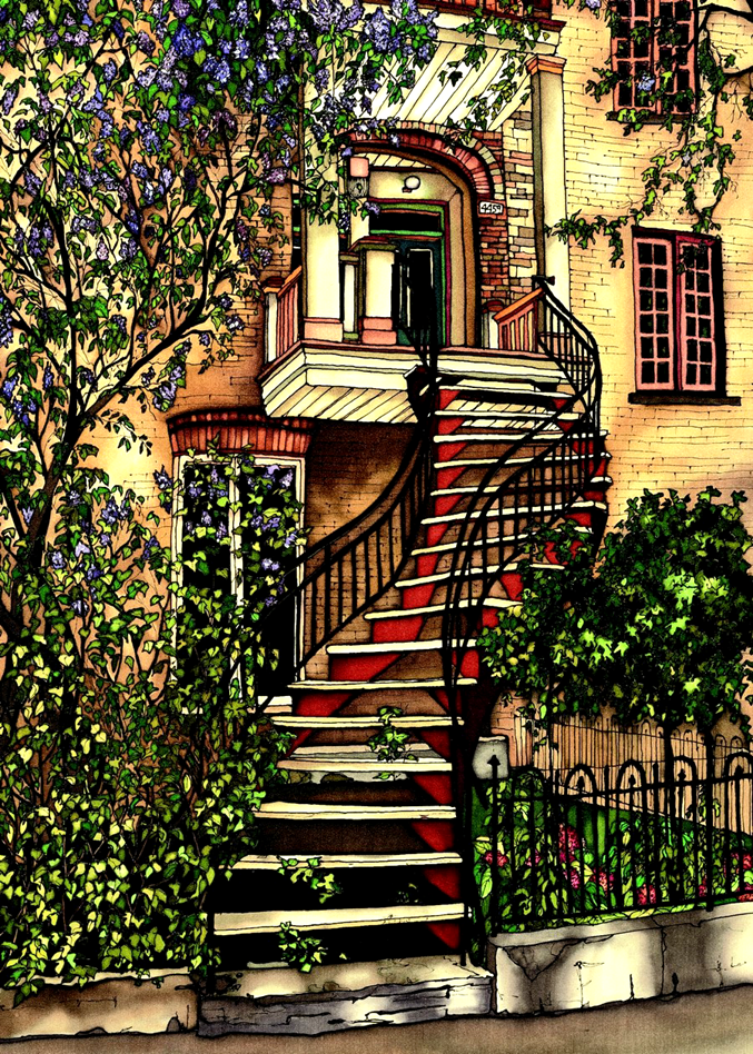 An elegant red staircase with wrought iron handrails twists upwards towards a second floors entryway.  A large wood and brick awning protects the entryway. A tall lilac bush is blossoming to the left of the house. This print recreates the rich watercolours of the original painting.