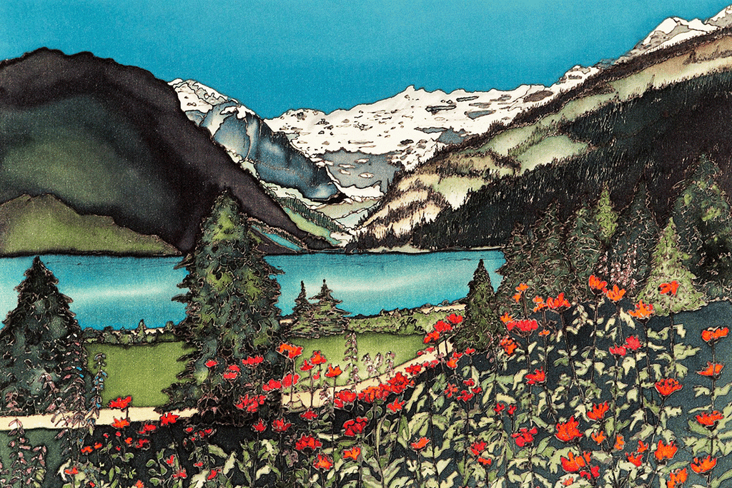 This print shows the turquoise waters of Alberta's Lake Louise. The lake is sandwiched between a field of red paintbrush flowers in the foreground, and the Canadian Rockies in the background. A narrow dirt path runs through the flower field. This print recreates the rich watercolours of the original painting.
