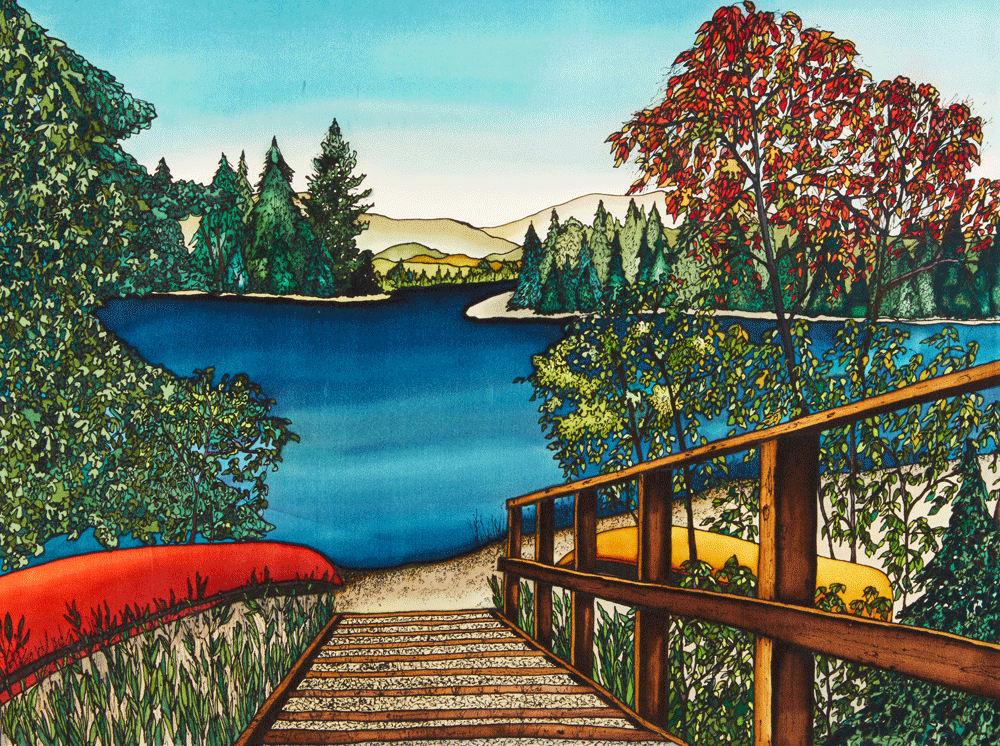This print shows two canoes lying on their sides on a lakeside beach.  A wooden staircase comes out of the bottom of the picture and leads to the waterfront. The lake is surrounded by tall grass and some trees. The water is a rich, shimmering blue.