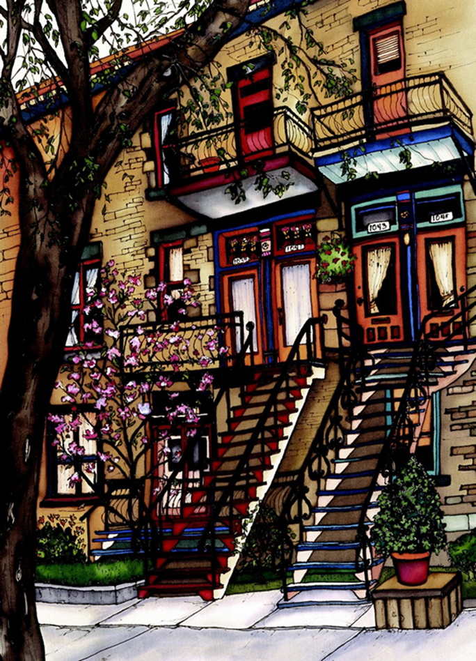 Two parallel staircases rise up to the second floor doors of two townhouses. The left house has red stairs and red trim around its door and third floor balcony. The right house has blue stairs and trim. A cherry tree is blossoming in front of the left house. This print recreates the rich watercolours of the original painting.