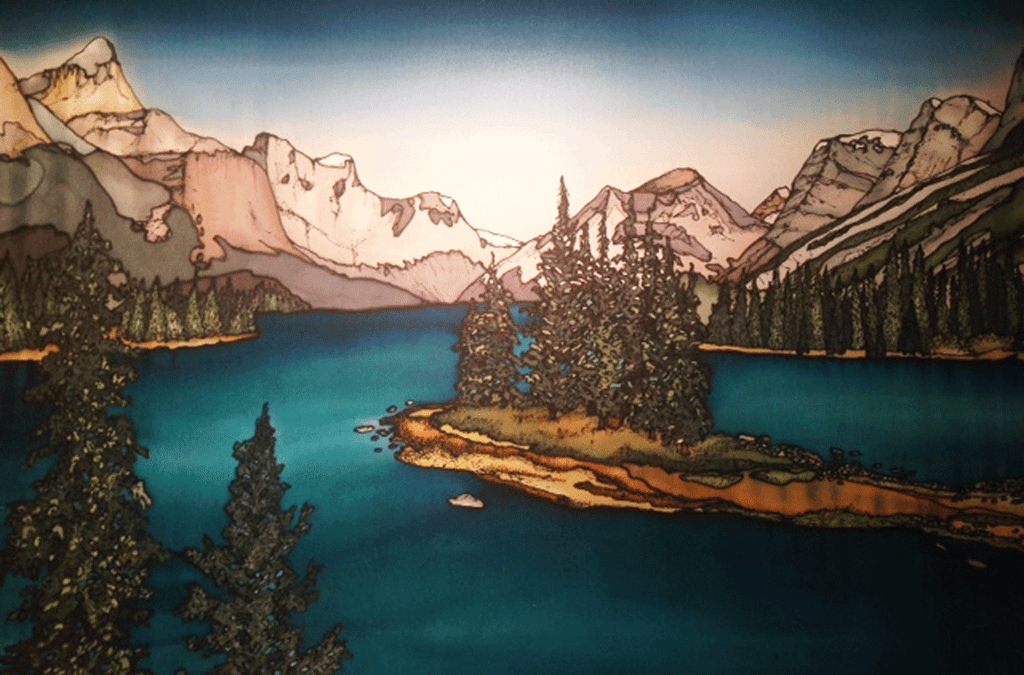 This print shows Alberta's Maligne Lake. The lake is a deep azure blue and is surrounded on all sides by ever green trees and the Canadian Rockies. In the middle of the lake is Spirit Island, a small island with about a dozen evergreen trees growing on it. The picture is richly coloured.