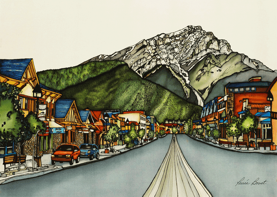 This print shows the rustic and colourful storefront on Banff Avenue. The snow-capped Canadian Rockies rise up in the background. This print recreates the rich watercolours of the original painting. The artist's signature is at the bottom right.