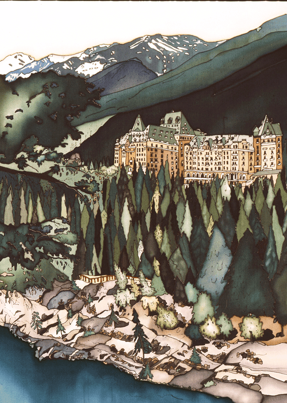 This print shows Banff Spring Hotel on a lush green hill. The stately hotel has light brown walls and a pale green roof. In front of the hotel is a band of evergreen trees on a rocky slope that leads to a river. Behind the hotel are the Canadian Rockies. The picture is richly coloured.