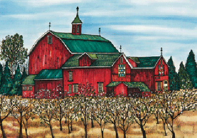 This print shows a large red barn with a dark green roof. In front of the barn is an orchard with young trees. The orchard's grass is yellow, suggesting a hot dry summer. The picture is richly coloured.