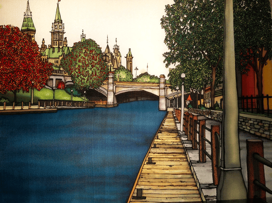 This print shows the Parliament building as seen from the Rideau Canal. The Parliament building is at the upper left of the picture and is partially obscured by trees, which are just beginning to develop their autumn colours. At the right of the picture is a boardwalk that follows the canal.  This print recreates the rich watercolours of the original painting.
