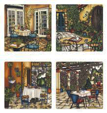 This set of coasters features four unique prints of Montreal patios. Each print highlights the beautiful architecture of old Montreal, including cobblestone paths, elegant archways, and rustic wooden doors.  Flowering vines trail up walls and down trellises. The pictures are richly coloured. The artist's signature is at the bottom of each coaster.